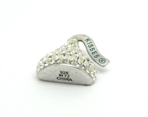 Wtj chocolate hershey kisses cz 925 silver pendant american sterling silver hershey kisses pendant the kiss is bedazzled with cubic zirconia around the face stamped 925 wts china measures 16 x 15 x 7 mm mozeypictures Choice Image
