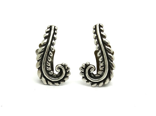 LOS CASTILLO 238 Taxco Mid-Century Fern Leaf J Sterling Silver Clip-on Earrings