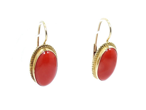Vintage Italy *1180NA Deep Salmon Red CORAL 14K Gold Lever Back Dangle Earrings