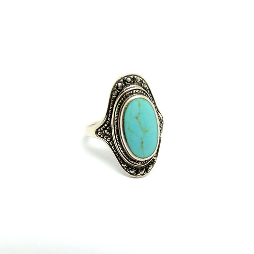 Beautiful Sterling Silver Turquoise Marcasite Ring