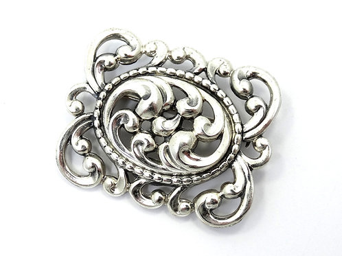 Gorgeous DANECRAFT Art Nouveau style Scroll REPOUSSE Sterling Silver Brooch Pin
