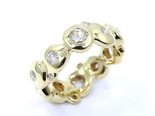 Modernist IPPOLITA Rose Cut DIAMOND Eternity 18k Gold Band Ring s.7