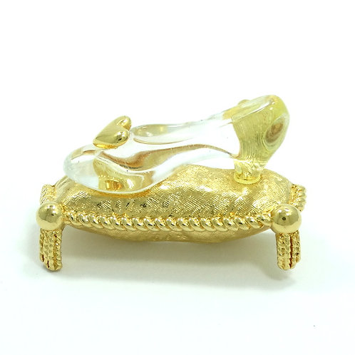 Vintage Signed DISNEY Cinderella GLASS SLIPPER on Golden Pillow Brooch Pin