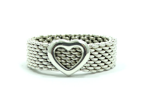 Beautiful TIFFANY & CO Heart SOMERSET Sterling Silver Mesh Band Ring 6-1/2