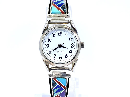 EARL PLUMMER M. McCray TSF Touch of Sante Fe Inlaid Sterling Silver Band Watch