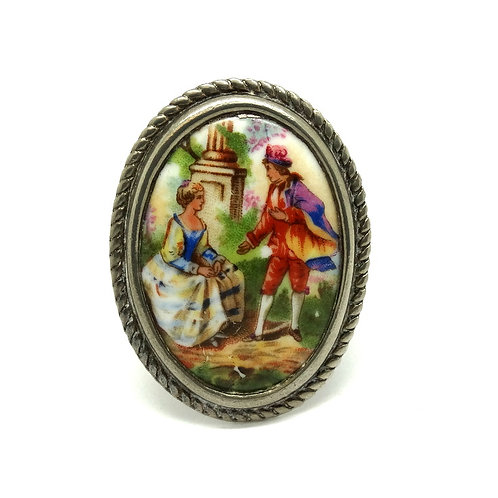 Parisienne Limoges Courting Couple Brooch Pin