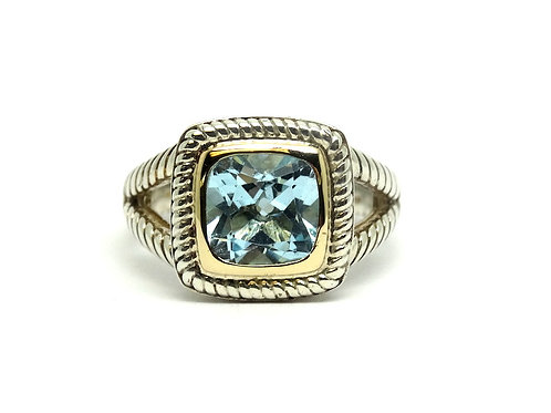 ATR Thailand Blue Topaz 14k Gold & 925 Silver CABLE Rope Ring