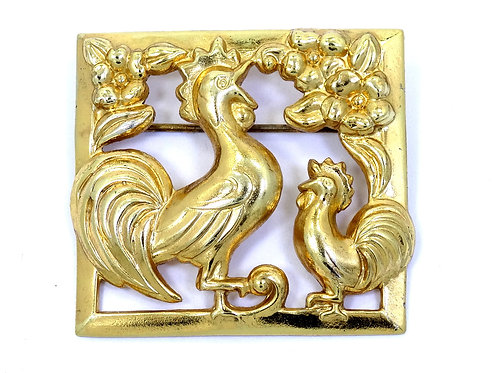 Vintage CORO 1920's CROWING ROOSTER Square Gold Gilt Sterling Silver Brooch Pin