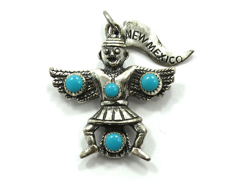 Eagle Dancer NEW MEXICO Juan Pedro Garcia NAVAJO Turquoise Sterling Silver Charm