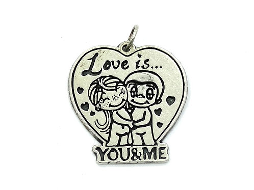"OroAmerica OR Heart ""Love is You & Me"" Sterling Silver Charm Pendant"