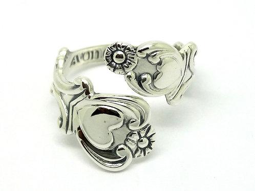 AVON Treasured HEART Bypass Wrap Silver Ring