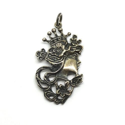Vintage Art Nouveau Sterling Silver Lady Pendant