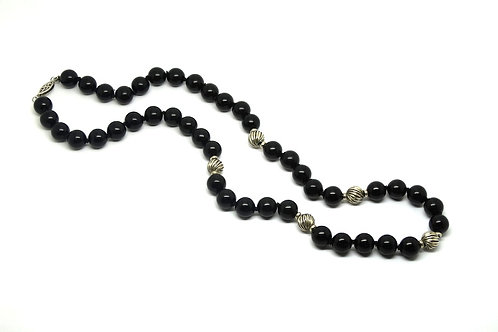 Black Onyx & Sterling Silver Bead Necklace