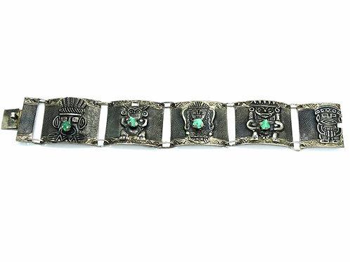 Vintage Tribal AZTEC Columbia RAW Emerald 900 Silver Bracelet