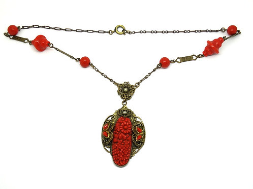 Vintage Antique Victorian Style Costume Red Coral Plastic Gold Toned Necklace