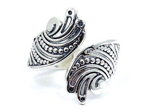 Vintage TAXCO TC-208 Unisex Large Bypass 925 Sterling Silver Ring