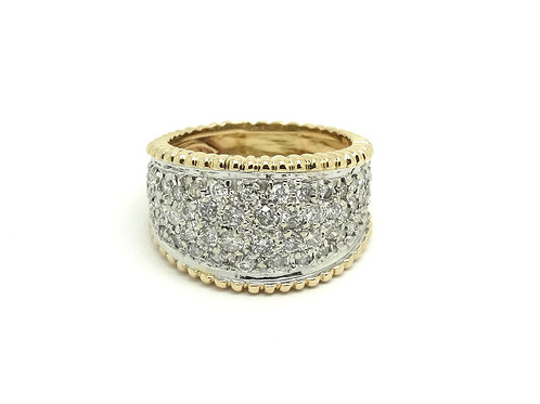Fabulous 2 Ct DIAMOND CLUSTER Band 14k Gold Two-Toned Ring s-9.5