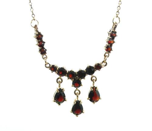 3ec218a9f Vintage Bohemian Red GARNET Gold Toned 925 Sterling Silver LAVALIER Necklace