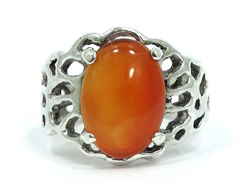 Vintage Hand Made Free Form Orange Brown CARNELIAN Sterling Silver Ring