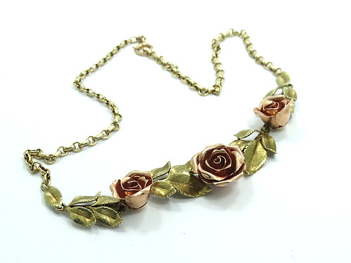 "Gorgeous Antique 3D ROSE (S) Two Toned 10K Yellow Gold Leaves 16"" Necklace"