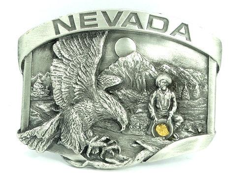 1986 NEVADA -GENUINE GOLD NUGGET- Prospector Miner SISKIYOU F-23 Belt Buckle