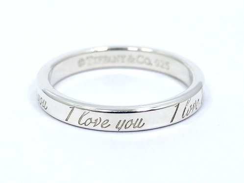 """TIFFANY & CO """"I LOVE YOU"""" 3mm 925 Sterling Silver Stacking Ring Band s.7"""