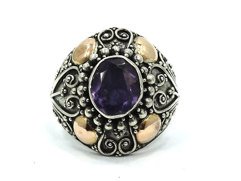 Vintage BALI Filigree Sterling Silver Purple Amethyst 18k Gold Accent Ring