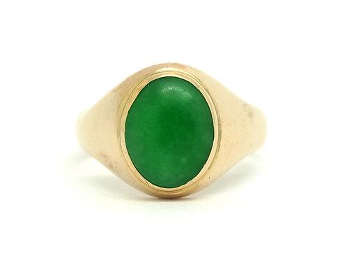 Nice Vintage Chinese GREEN JADEITE 18k Gold Ring