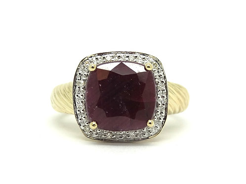 4 Ct Red RUBY CJ 14k Gold 12 Diamond Halo Ring