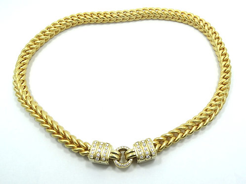 LA PEPITA Italy OE DIAMOND 105g 750 18k Gold Franco Wheat Link Chain Necklace