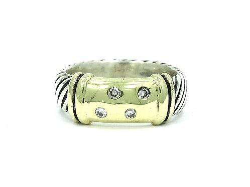 DY David YURMAN 14k Gold DIAMOND Saddle & Sterling Silver Cable Band Ring