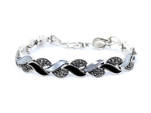 "DBJ Art Deco Style Black ONYX MOP Marcasite Sterling Silver Bracelet 7.75"""""