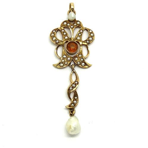 Art Nouveau Gold Pearl Citrine Lavalier Pendant