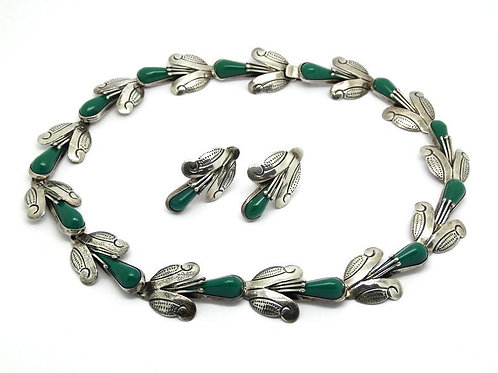 Signed F. PICHARDO Mexico Taxco GREEN ONYX Sterling Silver Necklace Earrings Set