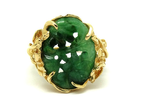 KIMBERLY Carved Green Jadeite 14k Gold Floral Ring