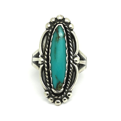 Navajo Elongated TURQUOISE Sterling Silver Ring