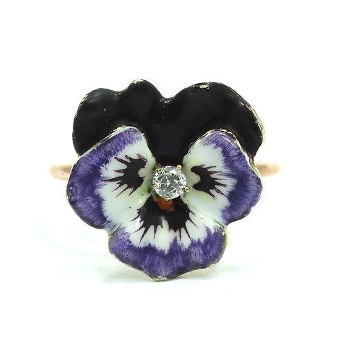 Beautiful Vintage DIAMOND Enamel PANSY Flower 14k Gold Ring s.7