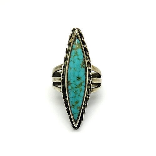 Elongated NAVAJO Spider-Web Turquoise Silver Ring