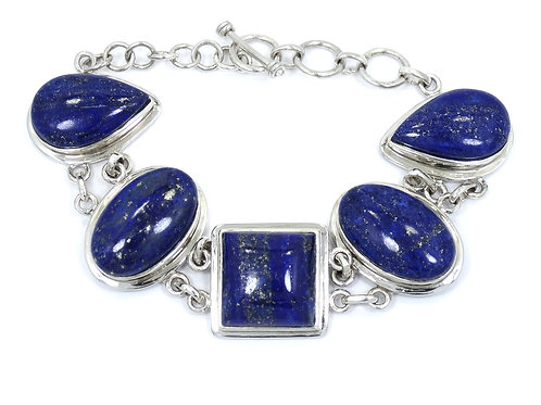 Beautiful BLUE LAPIS NF925 Thailand Sterling Silver Toggle Bracelet 7.5-8.5""