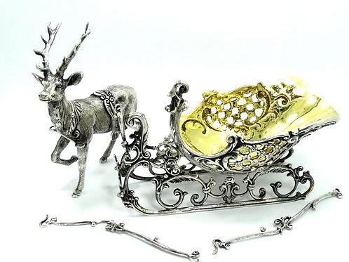SCULLY & SCULLY Germany Sterling Silver Reindeer STAG SLEIGH Candy Dish