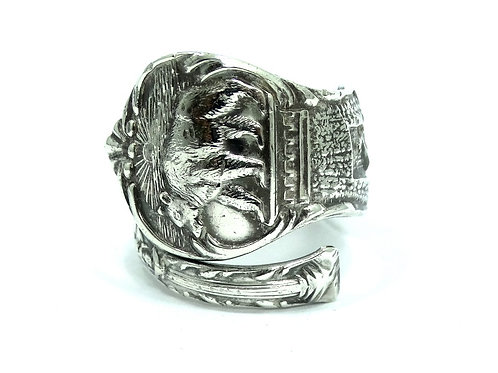 CALIFORNIA Bear 1849 Miner L.A. Grapevine EUREKA Sterling Silver Spoon Ring 10.5
