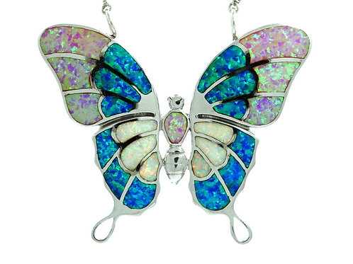Gorgeous MONARCH BUTTERFLY Inlay Multi-color Lab OPAL Sterling Silver Necklace