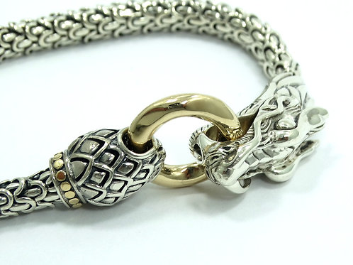 JOHN HARDY NAGA Chinese DRAGON Head Clasp 18K GOLD 925 Sterling Silver Bracelet