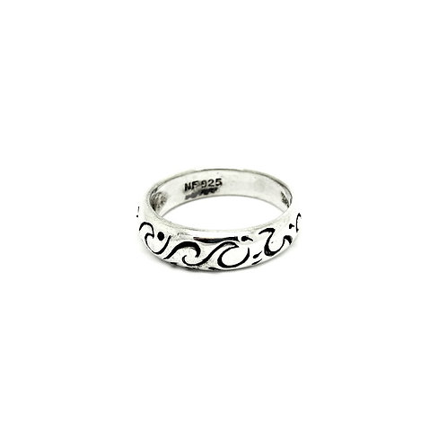 Sterling Silver Tossing Waves Swirl Ring