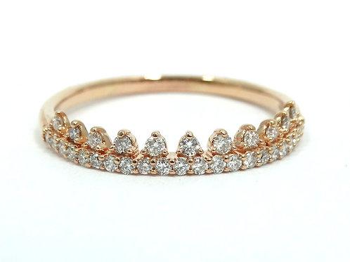 EMMY LONDON 3/8 ct Diamond TIARA 10K Rose Gold Band Crown Ring 10.5
