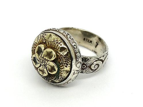 Vintage Hawaiian Brass PLUMERIA Flower Sterling Silver Filigree Ring s.7