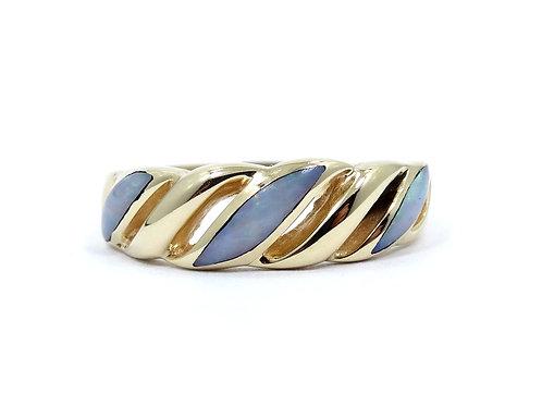 Beautiful KABANA Inlaid Natural OPAL 14k Gold WAVE Band Ring s.6