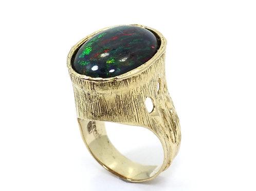 JOHN NADAS Lightning Ridge BLACK OPAL 18CT Gold Modernist Ring s.8