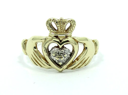 Cute Irish CLADDAGH NG Diamond 10K Yellow Gold Ring s.7