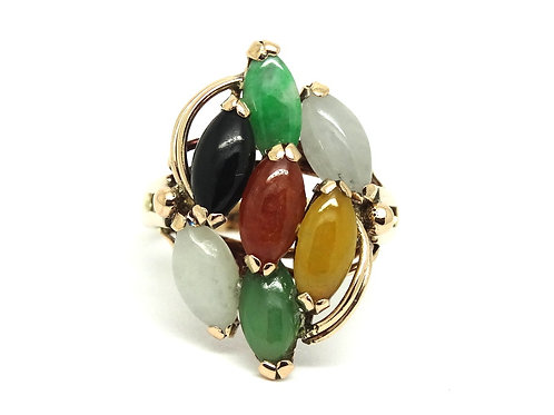 Chinese MultiColor Marquise Red Green Yellow JADEITE 14k Rose Gold Ring